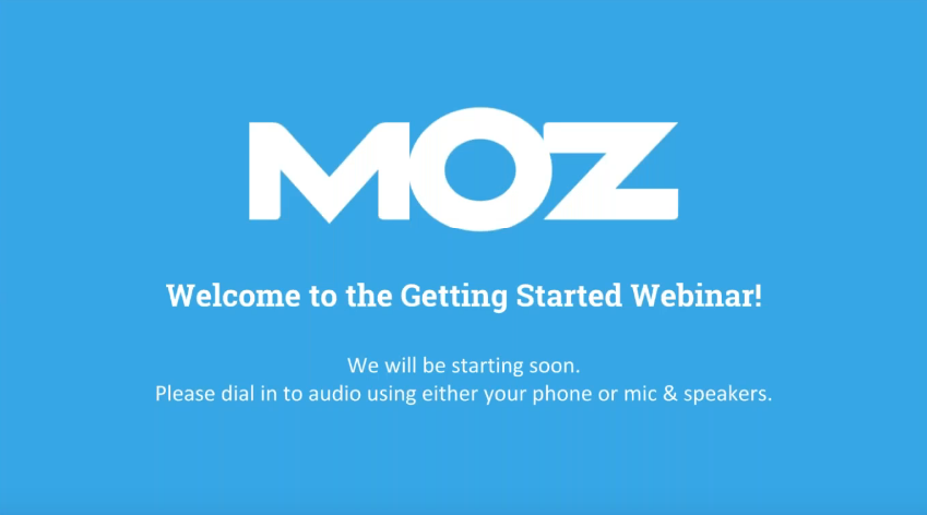 Screenshot of one of MOZ's webinar