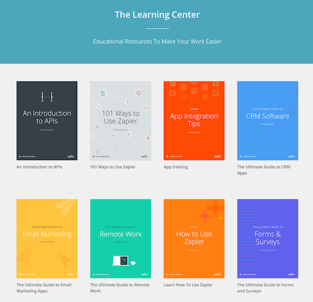 Snapshot of Zapier's Learning  Center with e-book examples