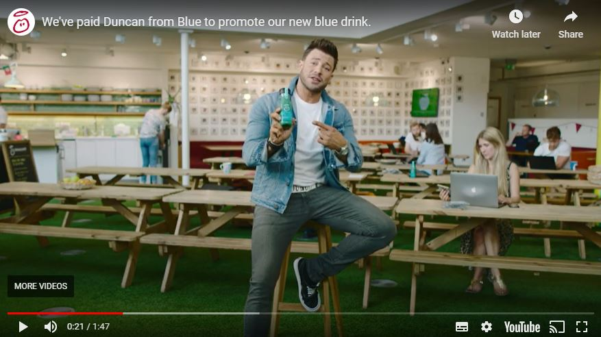Youtube screenshot of 'Innocent' Blue video ad